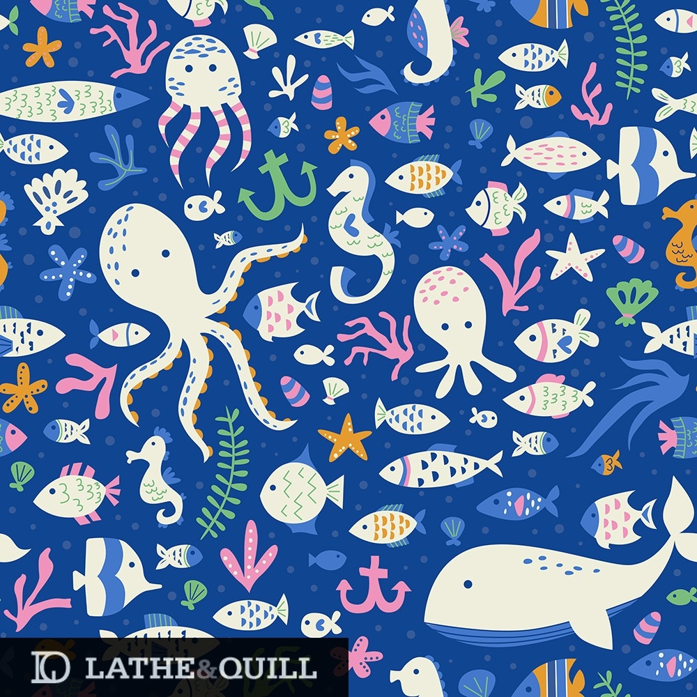 Fun sea pattern for whales, octopus, fish, seaweed, coral, starfish and more