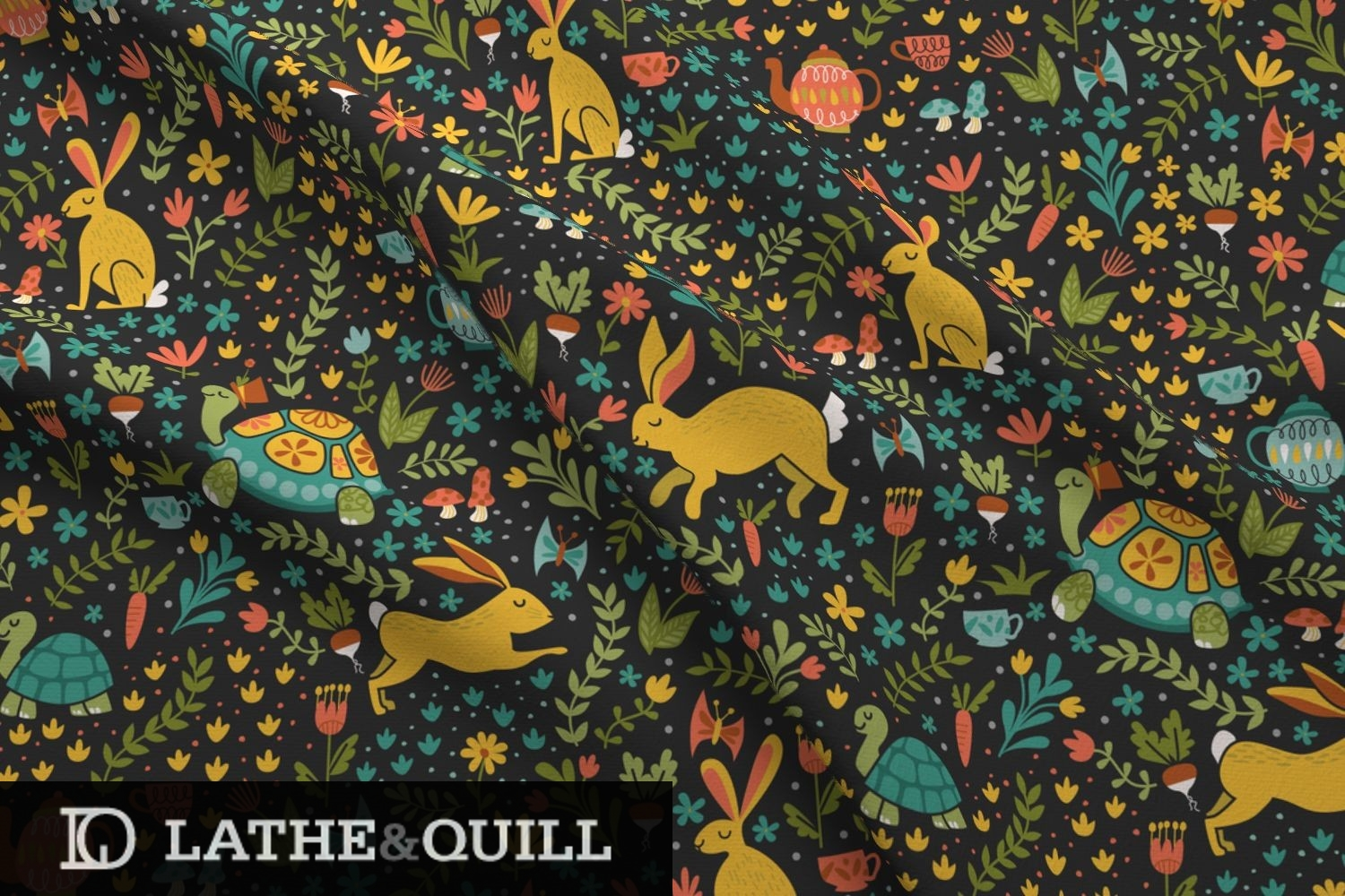 spring pattern of bunnies running with turtles in a garden