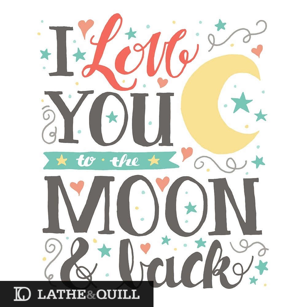 sweet artwork for my daughter's room i love you to the moon and back