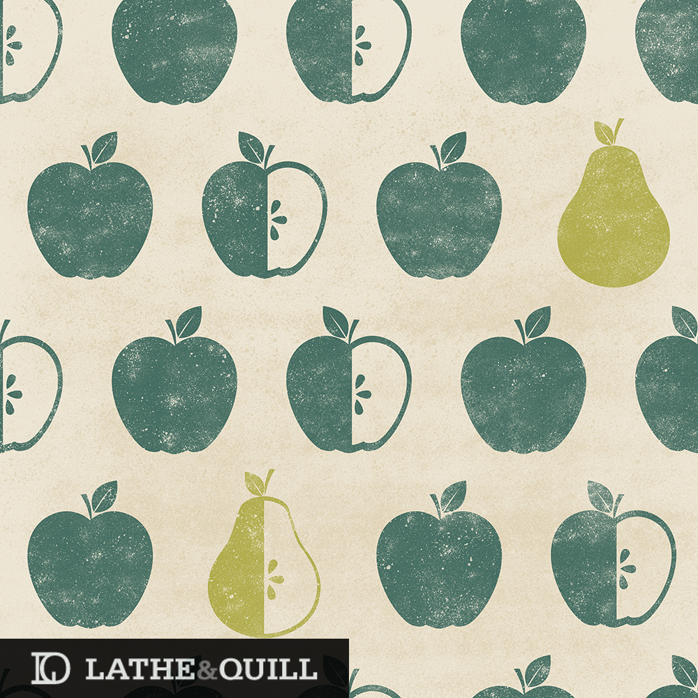 textured pattern of apples and pears