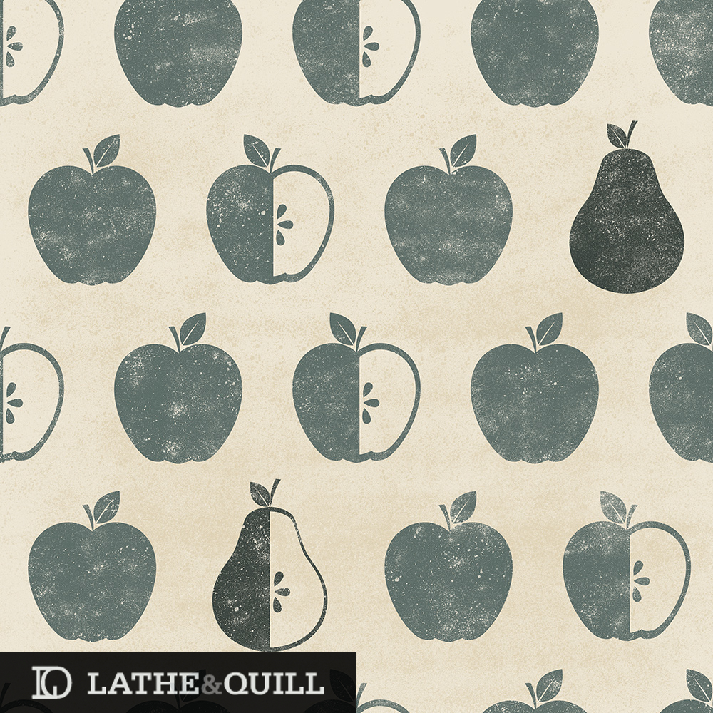 Weathered apples and pears textured fruit pattern