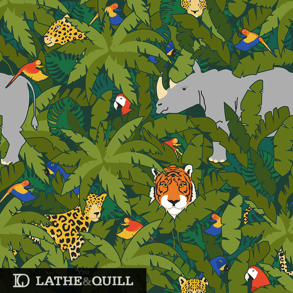 Save the animal pattern of amur leopards, amur tigers, white rhino, parakeet, and parrot