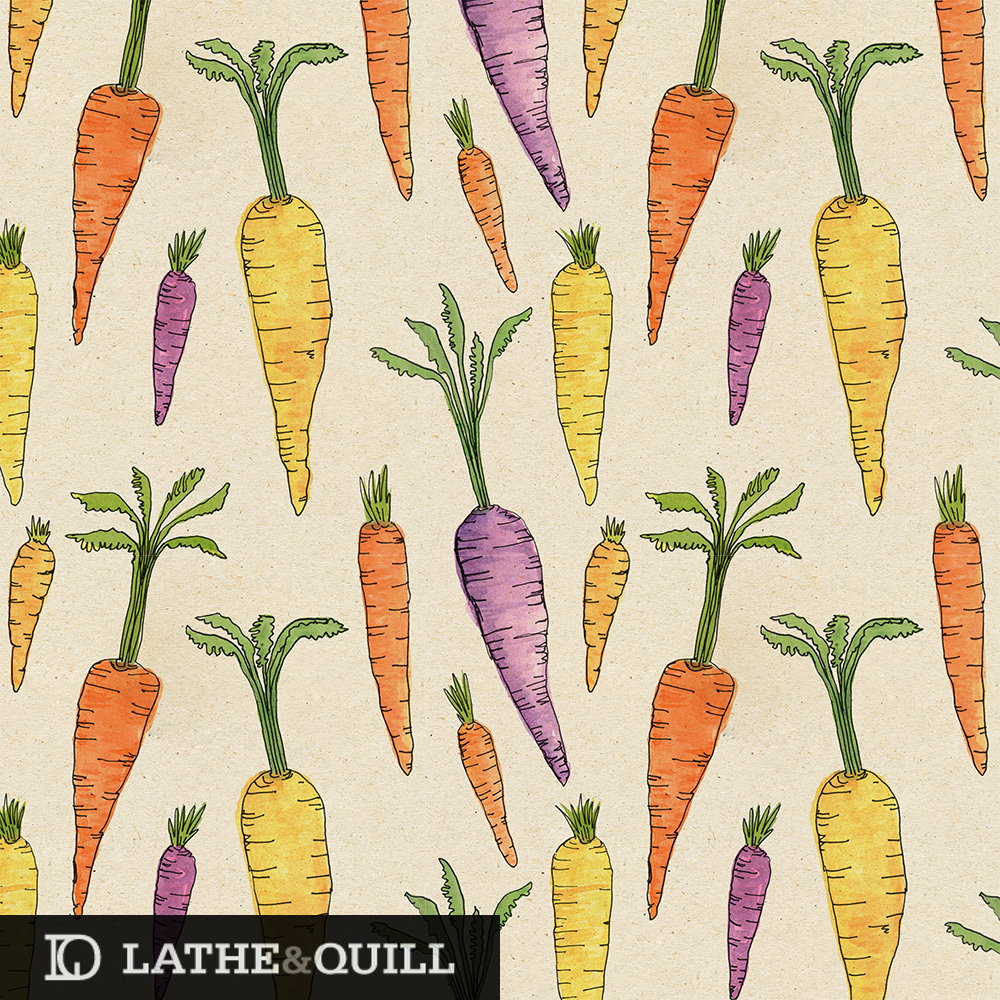 watercolor pattern of purple, orange, and yellow carrots