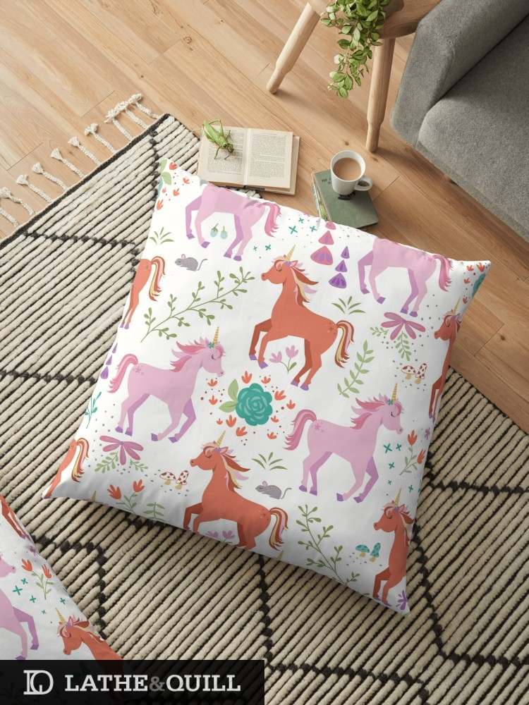 Magical pattern of unicorns with flowers and leaves