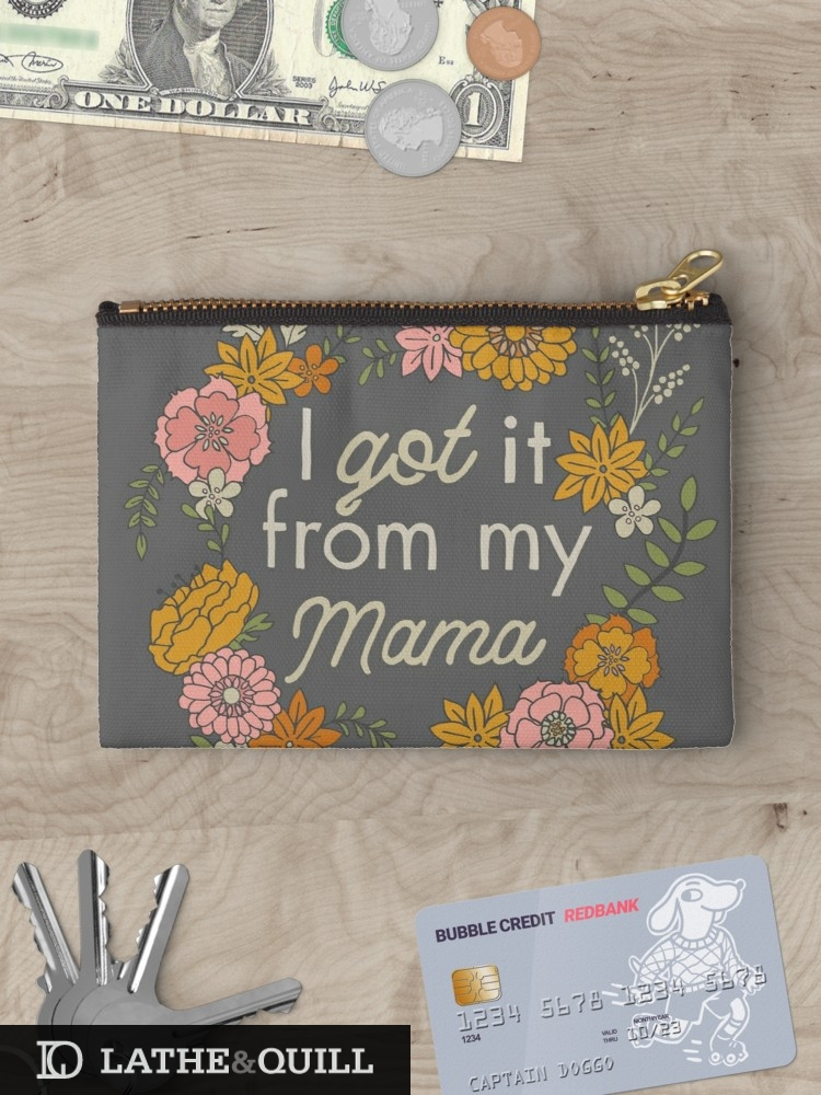 catch all bag with floral art and mama