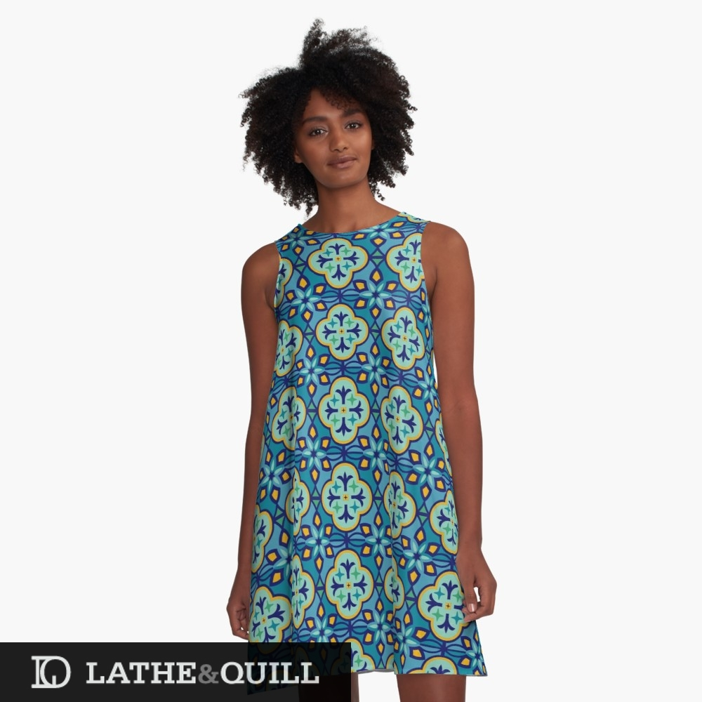 Graphic pattern dress with inspired tile patterns