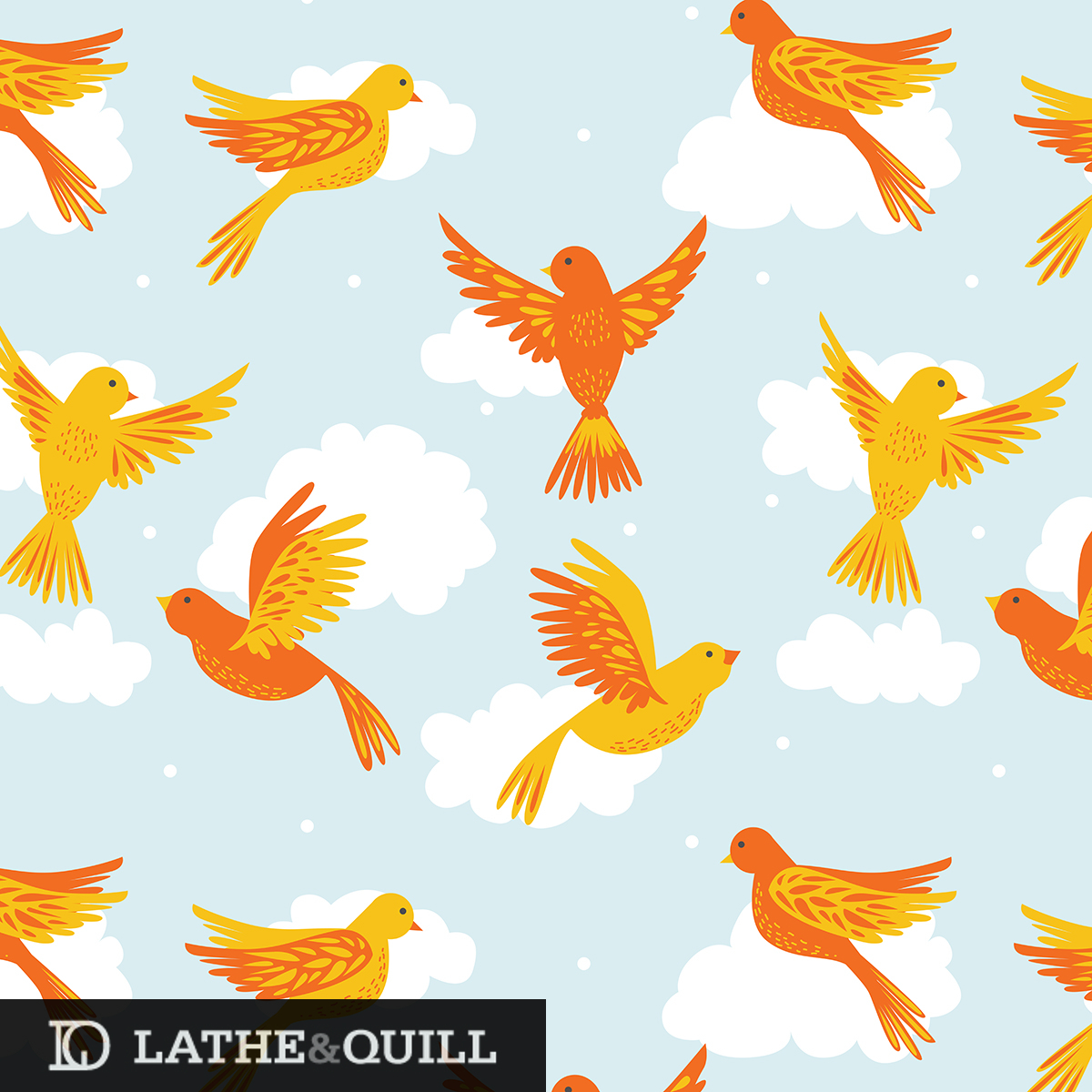 Vector illustration of birds on a blue sky with fluffy white clouds