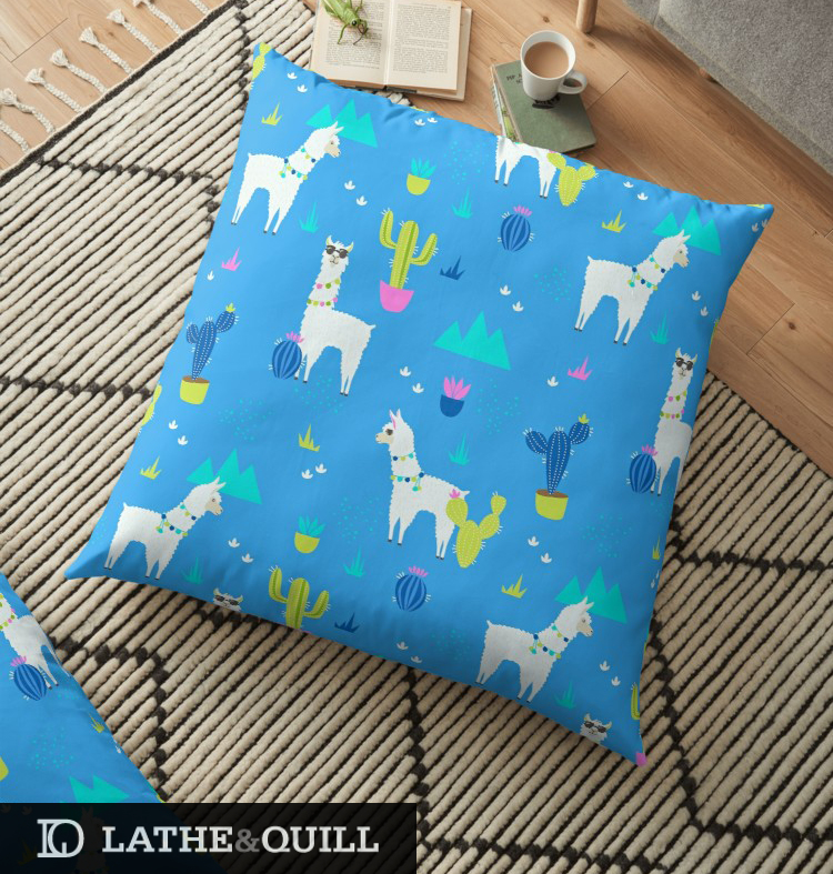 Neon Pattern of llamas on a floor pillow from Redbubble
