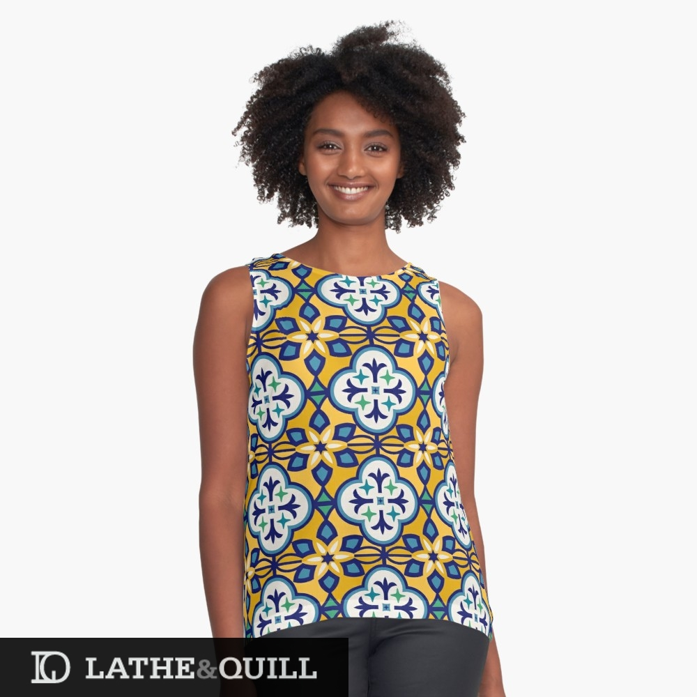 graphic shirt from redbubble of marrakesh tiles of morocco in gold and blue