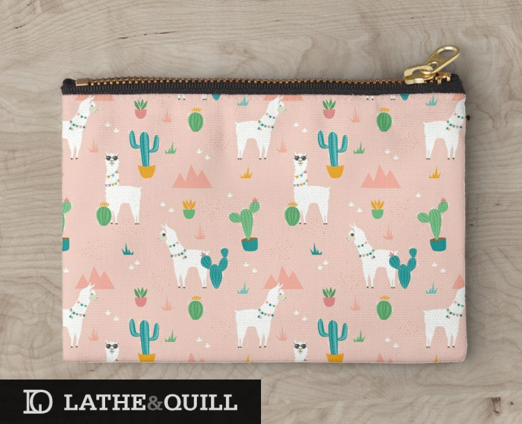 Llamas illustrated on a carry all pouch at Society6