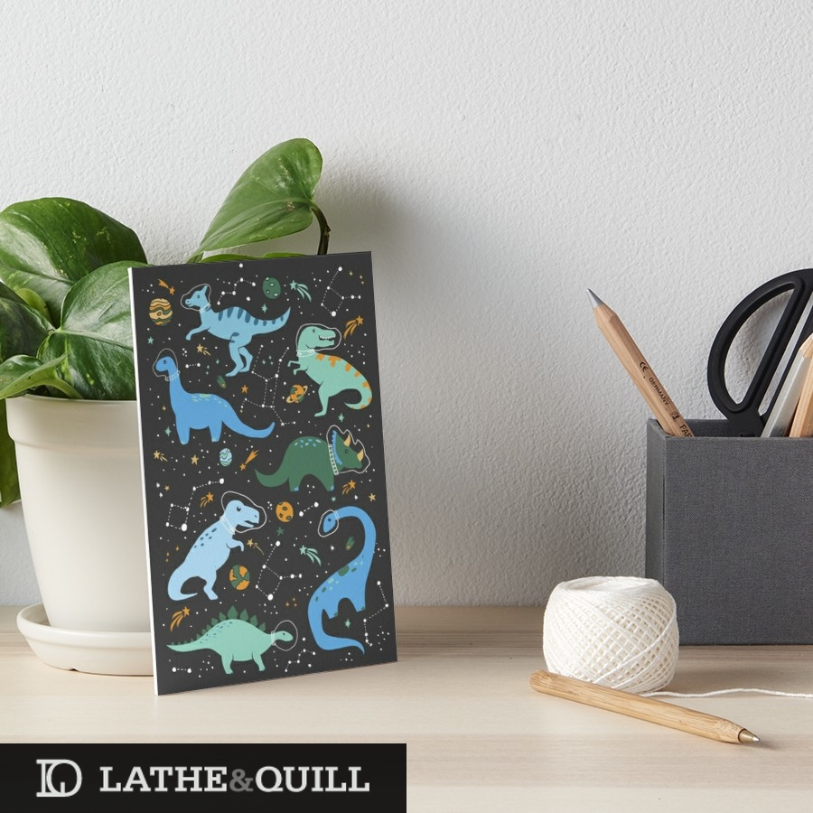 Cute art print of trex and friends floating among the stars