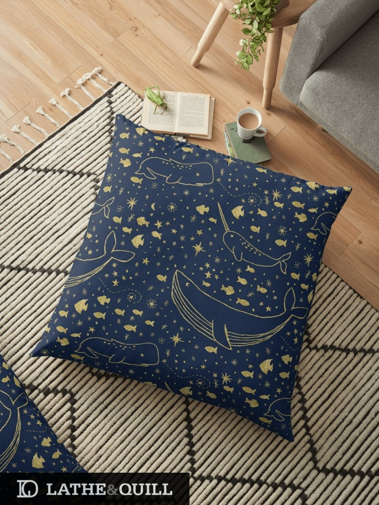 Lounge in comfort with these floor pillows from Redbubble with pattern of stars and fish