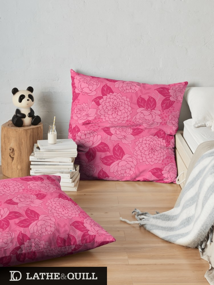 Vibrant Pink flowers on pillows for living room