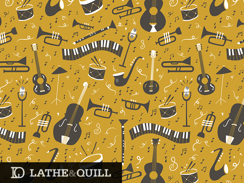 Mustard yellow background with instruments and musical notes