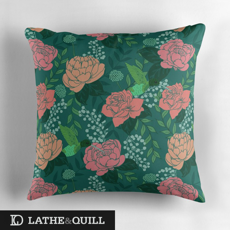 beautiful pattern of hummingbird pillow with peonies and roses