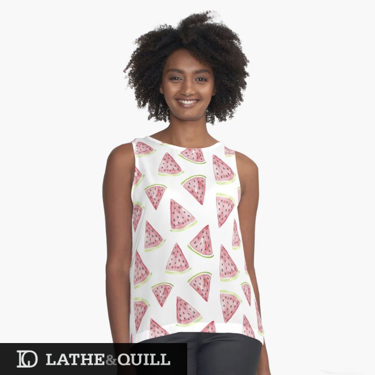 Watercolor Fruit pattern on a tank from Redbubble shop