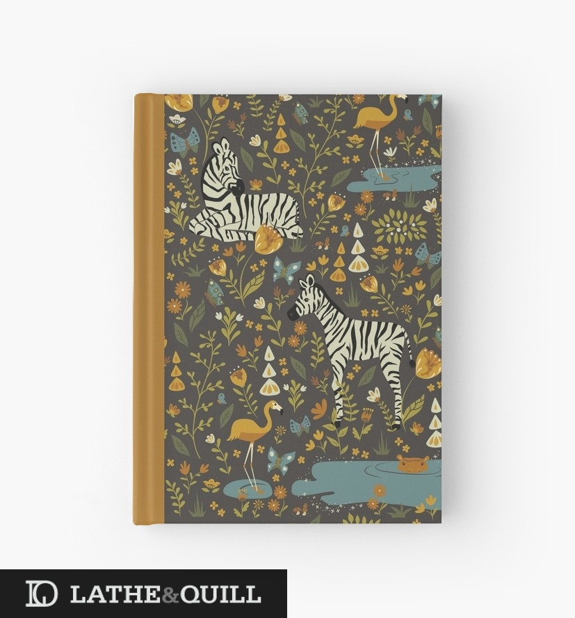 nOTEBOOK FOR FILED NOTES WITH ZEBRAS, FLAMINGO, AND HIPPO