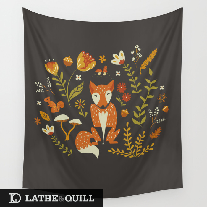 tapestry of a fox with flowers, acorns and a squirrel