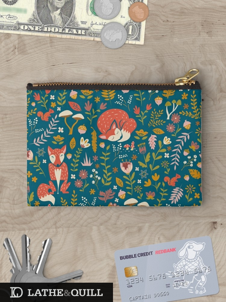 carry all pouch with foxes on blue