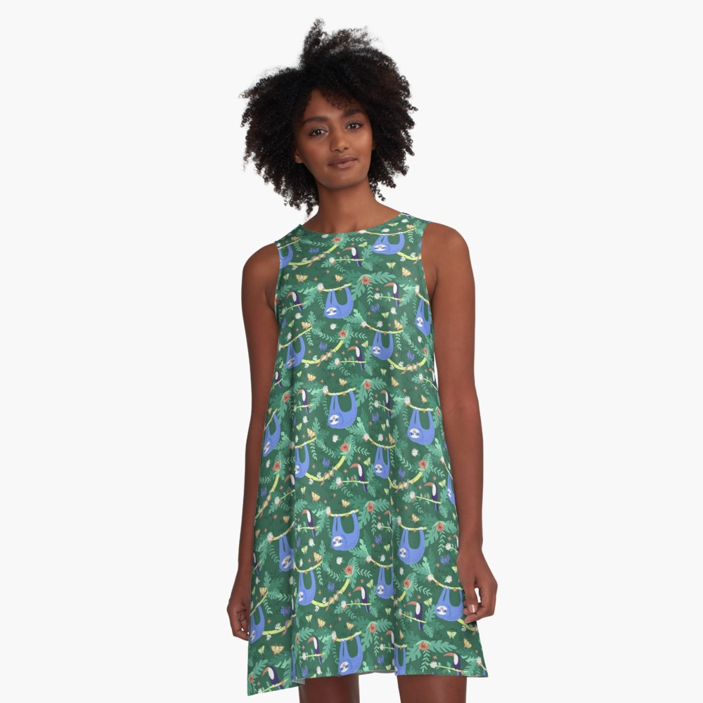 Be the talk of the party in this sloth patterned dress with a toucan and snake