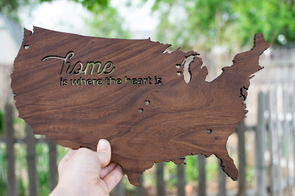Give the gift of a wood map of where your loved ones are