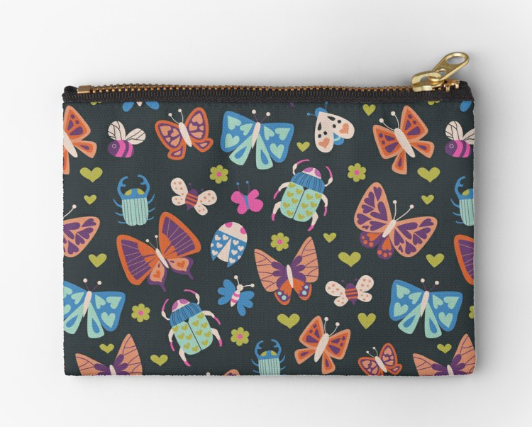 Dark and Bright palette of cute little bugs on a black pouch. Magenta beetles and coral butterflies with bees, ladybugs and moths with little heart and floral decorations