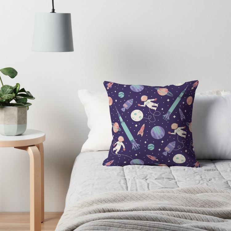 Fun throw pillow in purple aqua and coral for kids who love outerspace