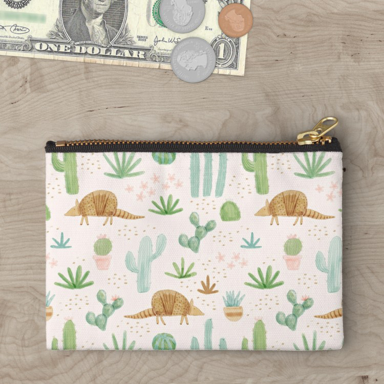 Cute zipper pouch from our redbubble shop featuring desert fauna and flora in gold blush pink and green