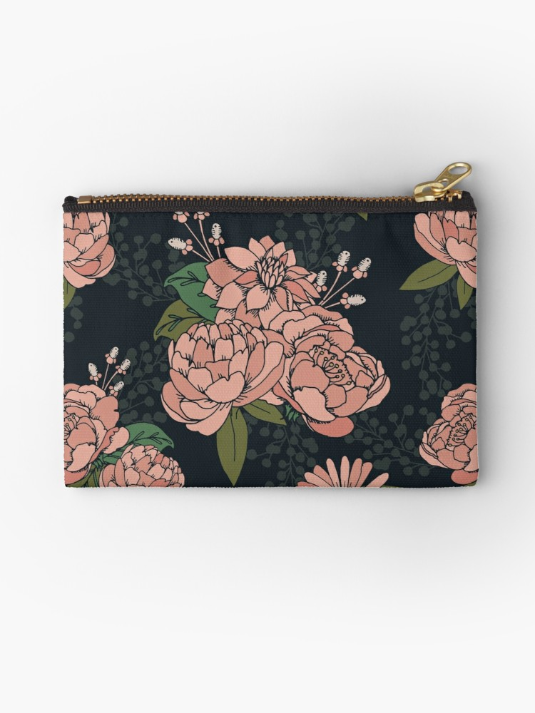 Cute zipper bag of coral florals on black - could be a fun bag for a date or everyday part of your purse storage