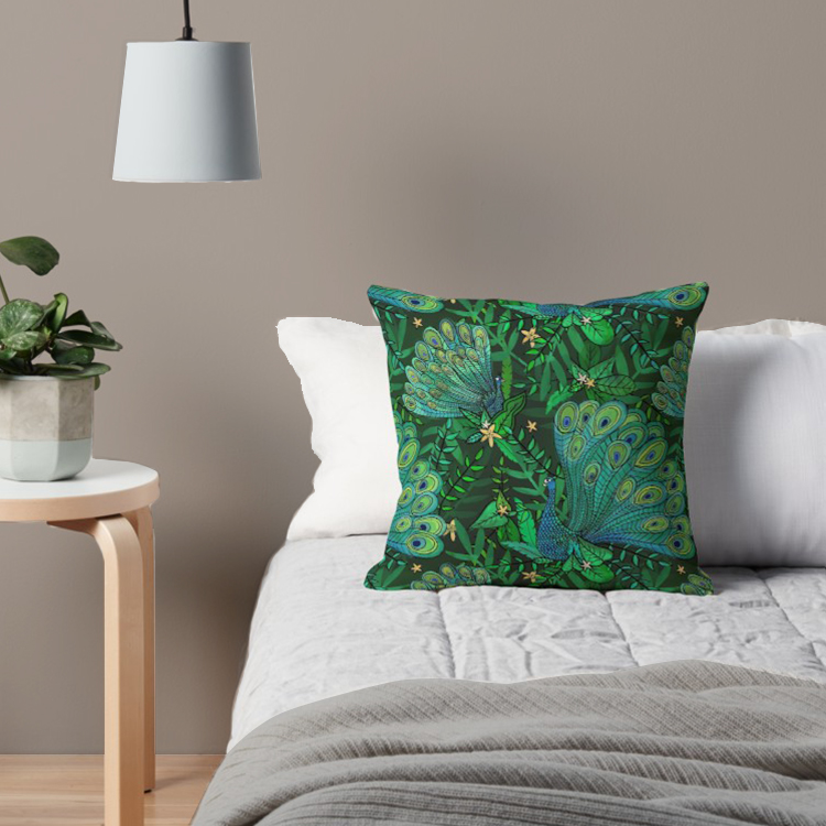 Teal pillow of peacocks in forest throw pillow fun for a jungle feeling indoors