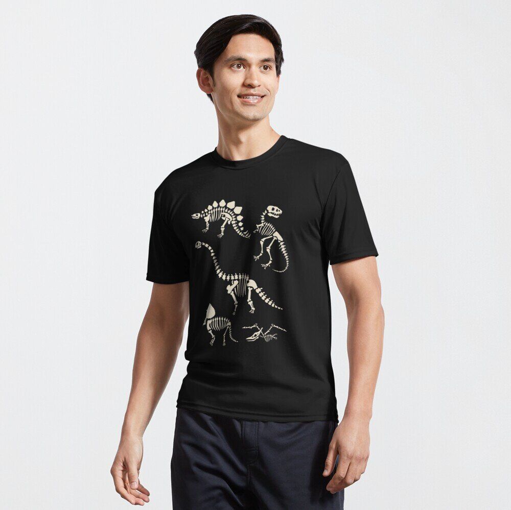 Black Tshirt of dinosaur fossils of stegosaurus, brontosaurus, trex, and triceratops