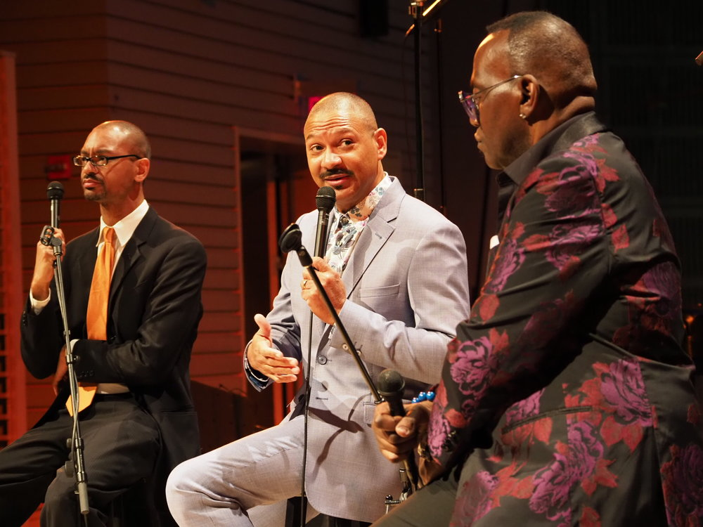 Grammy award Winning Jazz Musician Delfeayo Marsalis, ADC's Artist Exchange Director, engages in dialogue with legendary Randy Jackson at the ADC Inaugural Gala.