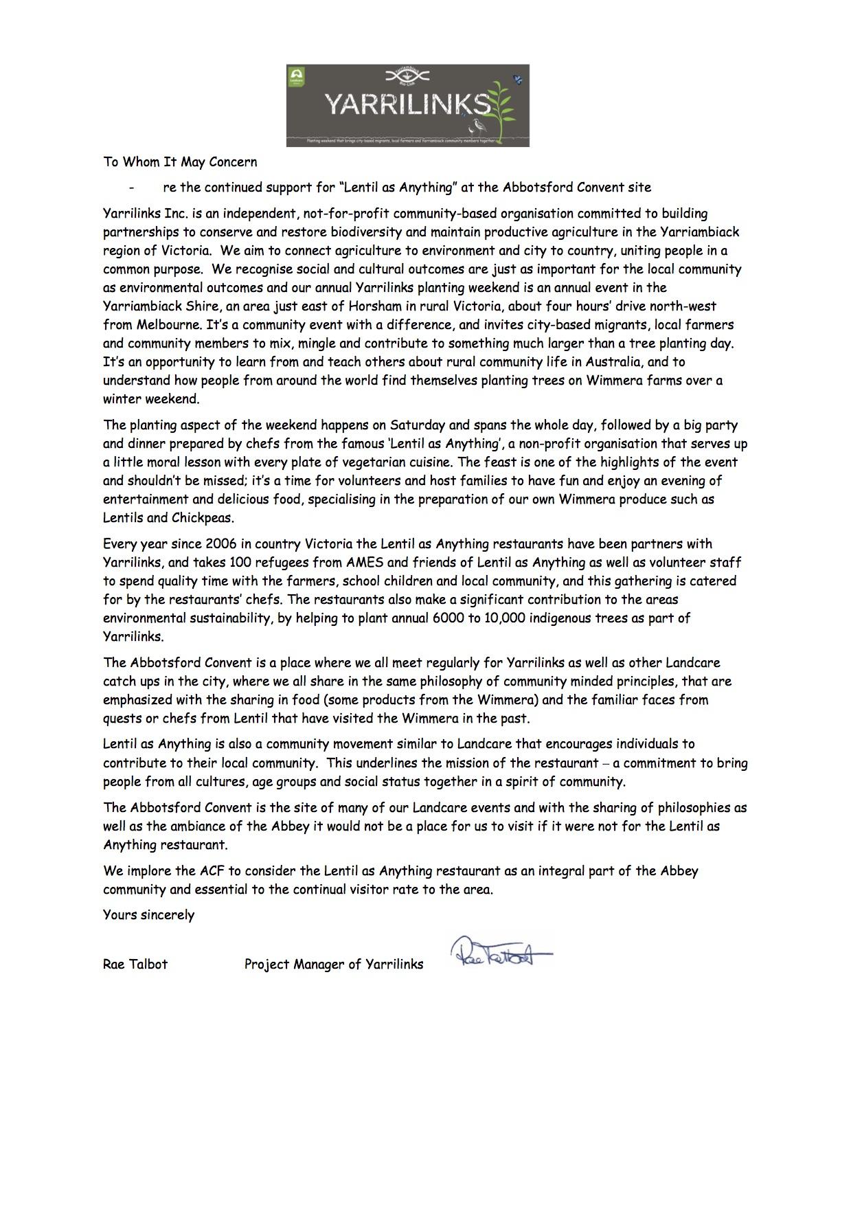 Yarrilinks  LaA letter of support