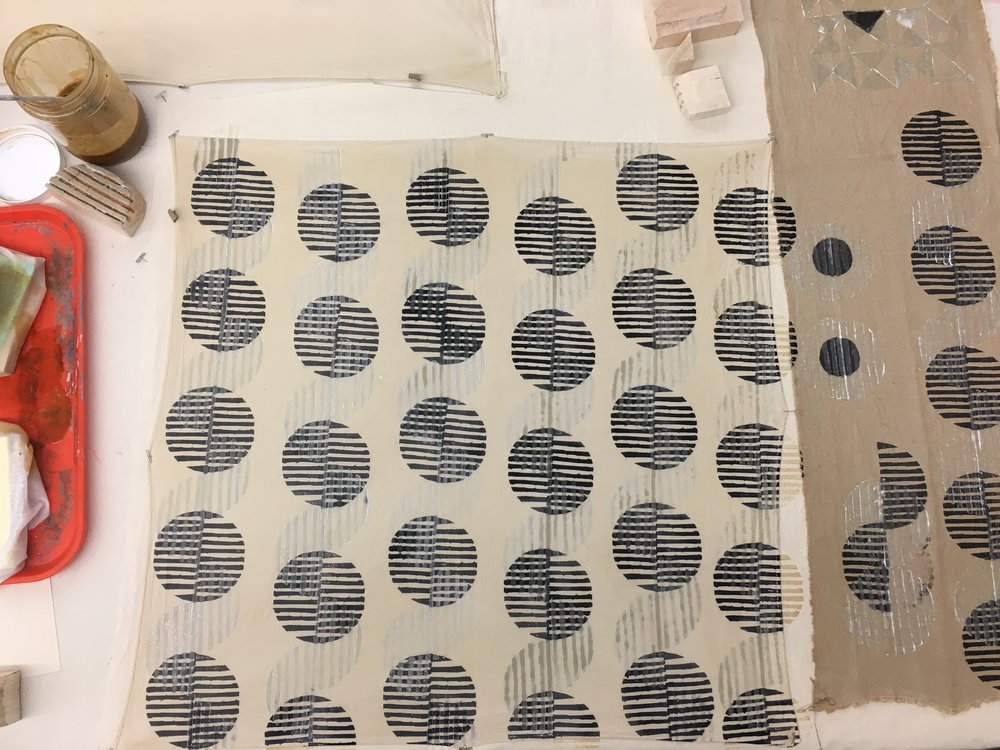 Block Printing with Iron and Alum Pastes