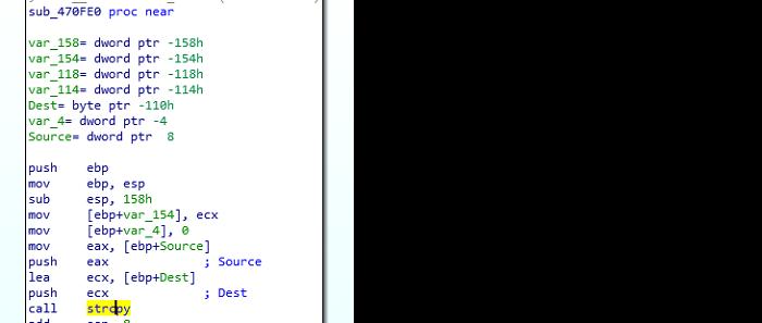 Figure 3: Sub_470FE0 calls strcpy.