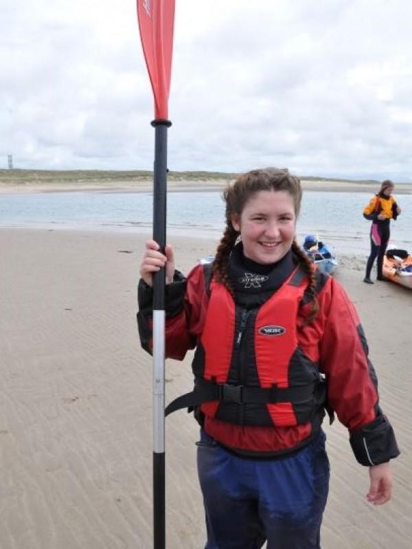 kayak paddling on the Welsh coast