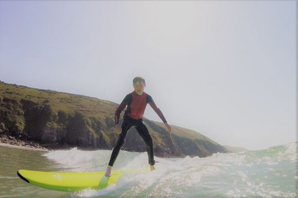teenager surfing activity