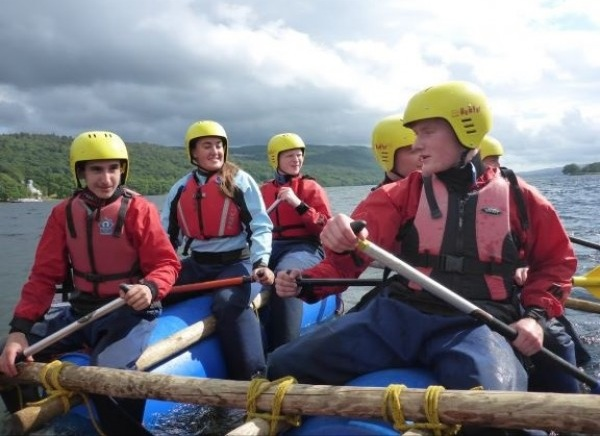 raft building on Christian adventure holiday Leadership