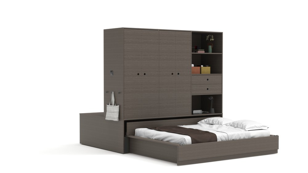 Copy of Queen Bed - Walnut Color Finish