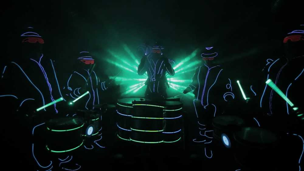 Mind-blowing LED performance by the famous Bam Bam Drum Band of London
