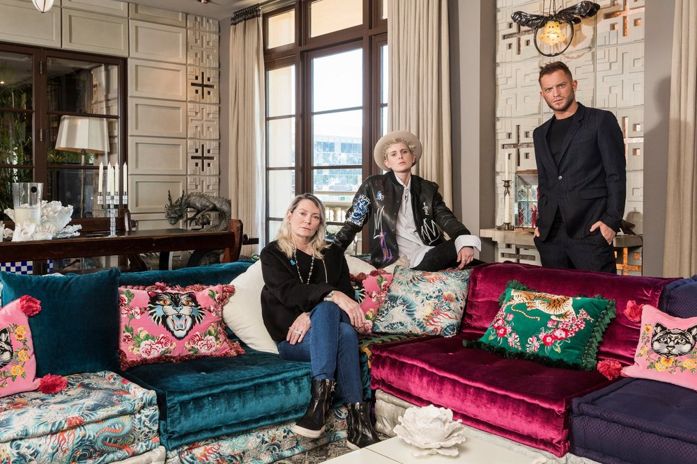 From left, Ariadne Getty and her children, Nats and August, at Ariadne's home in Beverly Hills.    Emily Berl for The New York Times