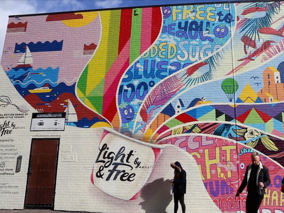 A mural in London's creative startup district Shoreditch. (Techspace)