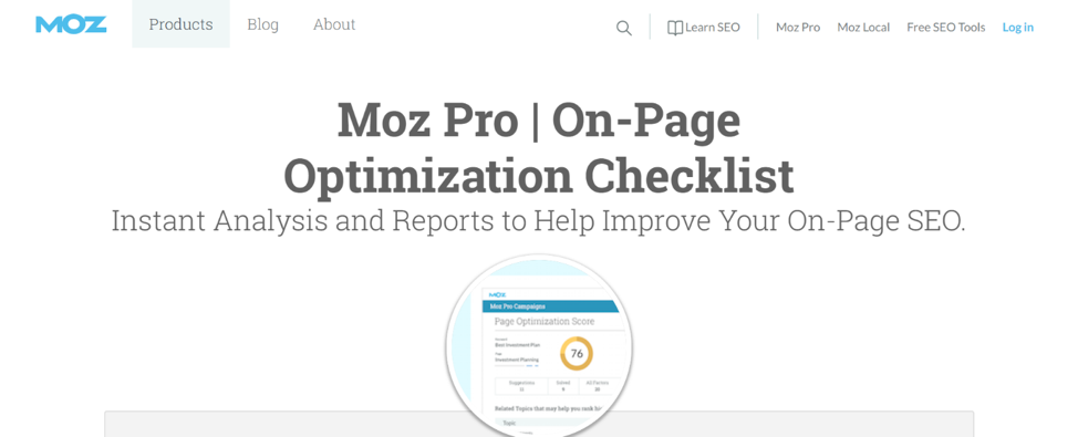 #1 Best SEO TOOL FOR Website, On-Page AUDIT AND ANALYSIS: Moz On-Page Grader.