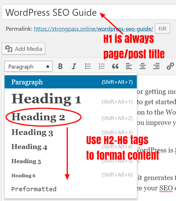 how to use h1, h2, h3 heading tags in wordpress.