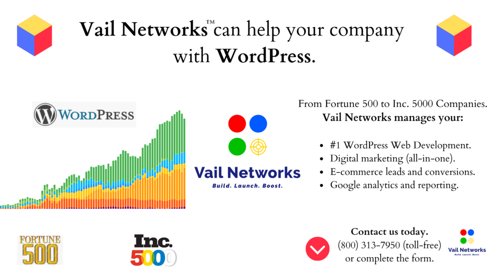 company to help with wordpress development, marketing, and SEO: vailnetworks.com