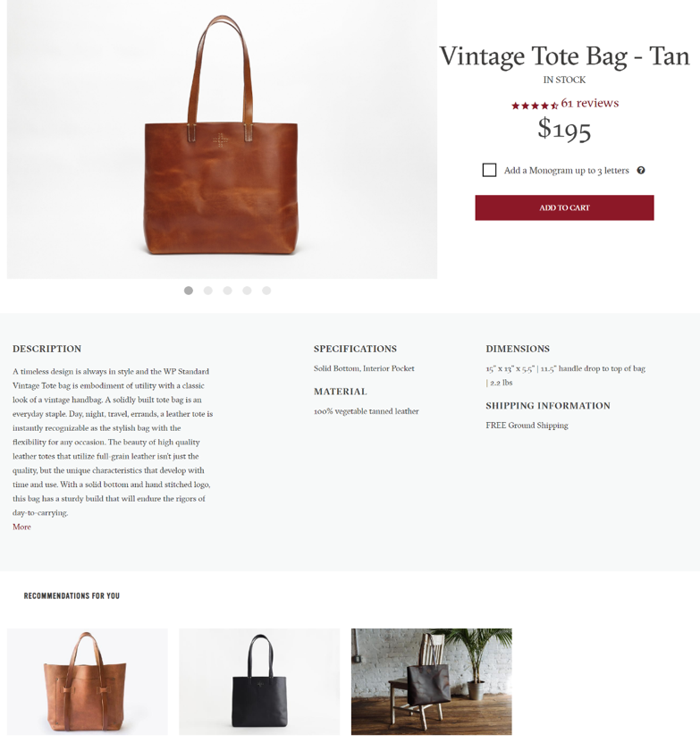 best shopify product page design example.
