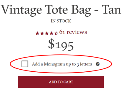 how to add monogram or custom options for shopify products.