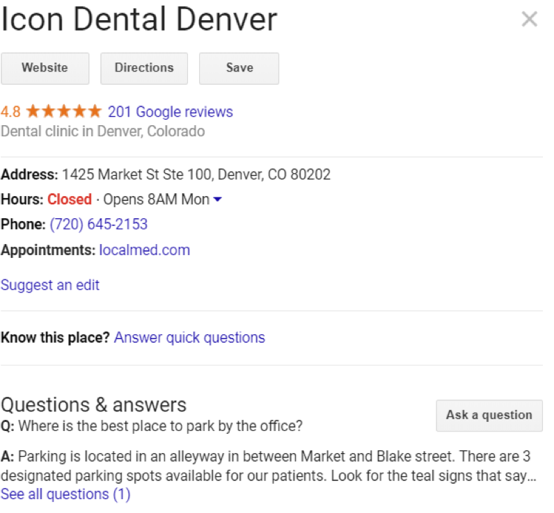 "best examples of ""google my business"" listings."