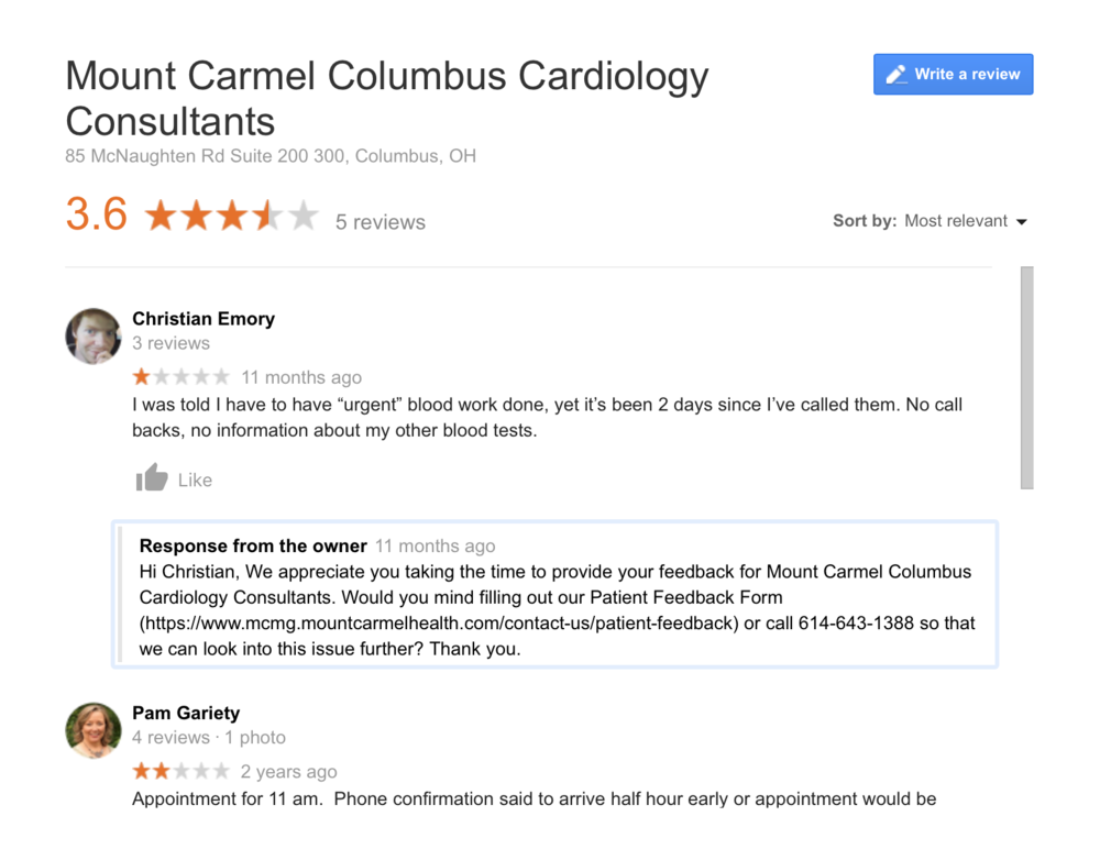 Reputation management for local search marketing for cardiologists