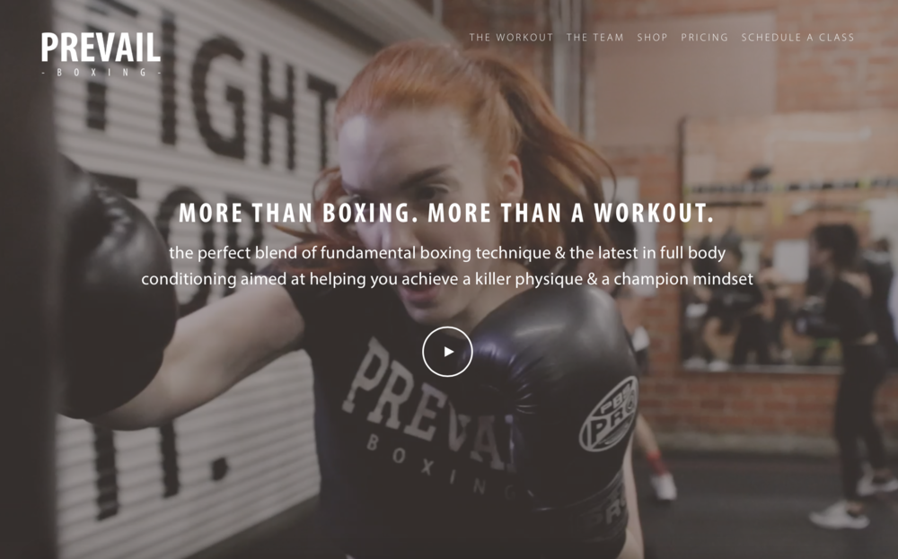 Prevail Boxing best gym website for marketing and advertising